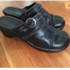 bass shoes black leather mules clogs