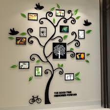 Amazon Com Alicemall Tree Wall Stickers Family Hope Tree Of Life Black 3d Wall Decals Photo Frame Acrylic Decorative Wall Sticker Wall Art 57 X 69 Inch Black Kitchen Dining