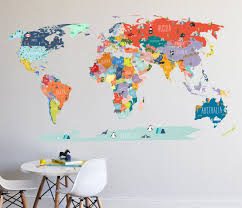 Wall Decal World Map Interactive Map Wall Sticker Room Etsy In 2020 World Map Wall Decal Map Wall Decal Map Decor