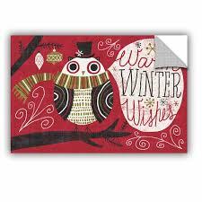 Artwall Michael Mullan Quirky Christmas Owl Wall Decal Wayfair