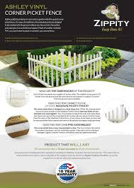 Zippity Outdoor Products 3 3 Ft X 2 5 Ft Ashley Corner Vinyl Fence Panel Kit Zp19007 The Home Depot