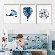 Amazon Com Blue Travel Nursery Wall Art Canvas Painting Pictures Hot Air Balloon Prints Train World Map Adventure Poster Kids Room Decor 50x70cmx3pcs No Frame Posters Prints