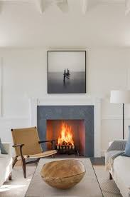 simple white wooden fireplace surround