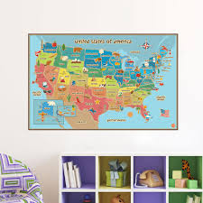 Us Map Removable Vinyl Decal Wall Sticker Home Decor Globe Traveler Store