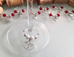 bridal shower favors wine glass charms