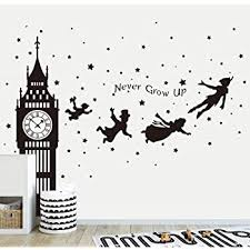 Amazon Com Runtoo Peter Pan Wall Decals Big Ben Clock Never Grow Up Quotes Stars Wall Stickers Baby Nursery Room Kids Bedroom Wall Decor Black Kitchen Dining