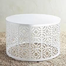 round trellis white metal coffee table