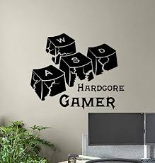 Amazon Com Hardcore Gamer Wall Decal Wasd Keyboard Keys Gamer Room Sign Poster Pc Gaming Quote Vinyl Sticker Print Gift Video Game Decor Wall Made In Usa Fast Delivery Home Kitchen