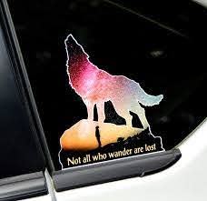 Amazon Com Not All Who Wander Are Lost Decal Howling Wolf Moon Sticker Car Graphic Yellow Arts Crafts Sewing