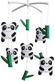 Amazon Com Handmade Baby Crib Mobile Kids Room Nursery Decor Baby Musical Mobile Panda And Bamboo Home Kitchen