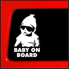 Amazon Com Sticker Connection Baby On Board Sticker Carlos Hangover Funny Car Vinyl Sticker Decal For Car Truck Laptop 4 X6 White Automotive