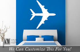 Commercial Jet Airplane Top View With Windows Silhouette Large A Wall Decor Vinyl Decal Graphic Sticker Art 2384