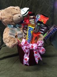 teddy bear and candy bar arrangment