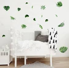 Jungle Nursery Green Leaf Wall Decal Kids Wall Decal Modern Etsy Modern Wall Decals Kids Wall Decals Wall Decals