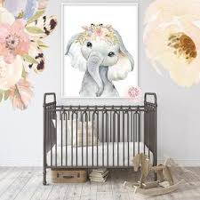 Boho Elephant Wall Art Print Nursery Baby Girl Room Feather Floral Boh Pink Forest Cafe