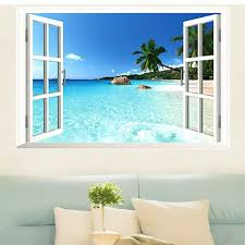 3d Effect Fake Window Wall Stickers Home Decor Living Room Coconut Sea Beach Wall Decals Pvc Scenery Mural Art Beach Wall Decal Window Wall Stickerstickers Home Decor Aliexpress