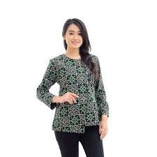 Pilih warna pastel agar terlihat casual. 30 Model Baju Batik Wanita Kantor Modern Lengan Panjang