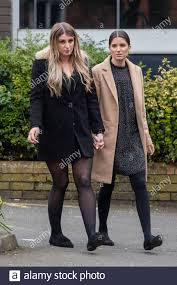 Abbie Littleboy (left), aunt of Ava-May Littleboy, and her friend Beth  Jones outside the inquest into the death of Ava-May Littleboy, who died  after she was thrown from an inflatable trampoline on