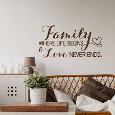 Inspirational Family Wall Decal Quote Family Where Life Begins And Love Never Ends Wall Decal Family Sign Home Decor Qu09 Wall Stickers Aliexpress