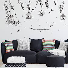 China Sk7130 Silhouette Of Black Birdcage Wall Sticker China Window Sticker And Home Decoration Price