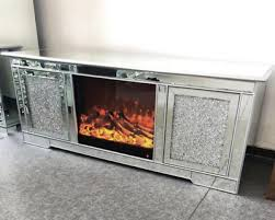 mirrored crushed crystal fireplace and