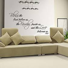 Amazon Com Digtour Wallart Bless The Food Before Us Bible Verse Wall Decal Religious Art Dining Room Decor X Large Black Home Kitchen