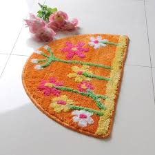 Decorative Semicircle Multi Color Floral Non Slip Floor Rug For Kids R