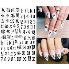 3pc Set Letter Nail Stickers Tips Nail Art Adhesive Decals Alphabet Design Nail Wraps Water Transfer Stickers Manicure Tattoos Stickers Decals Aliexpress
