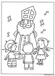 Kinderen Zingen Voor De Sint Kleurplaat