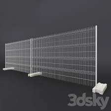 3d Models Fence Temporary Fencing With Concrete Base