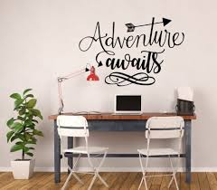 Adventure Wall Decal Adventure Awaits Quote Vinyl Sticker Decoration For The Home Office Or Classroom Customvinyldecor Com