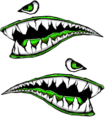 Amazon Com Side Gas Tank Fighter Shark Teeth Green P 40 3d Gel Motorcycle Gas Tankpad H Motorcycle Decal Sticker Kitchen Dining