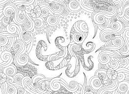 Kleurplaat Met Sierlijke Octopus Geisoleerd Op Een Witte