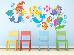 Mermaid Fabric Wall Decals Set Of 3 Beautiful Mermaids Size Large Contemporary Wall Decals By Sunny Decals