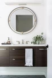 brown wood veneer floating sink vanity