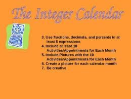 Project - Integer Calendar by Ada Simmons   Teachers Pay Teachers