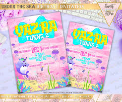 Under The Sea Cute Invitation Under The Sea Narwhal Party Pink