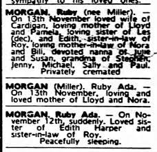 ruby Ada Morgan death notice the Age 19th Nov 1985 death 13th -  Newspapers.com