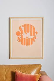 Sunshine Orange Pink Gold Frame Wall Art