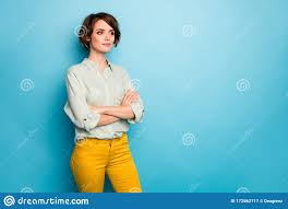 Photo Of Attractive Business Lady Short Hairstyle Not Smiling Serious  Reliable Person Arms Crossed Wear Casual Green Stock Image - Image of  girlish, financier: 172562717