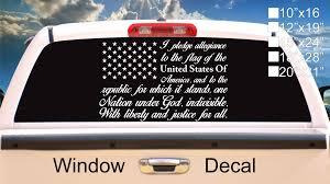 American Flag Pledge Of Allegiance Vinyl Truck Window Sticker Decal Carolina Creations Llc