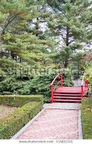 japanese zen garden red bridge stock