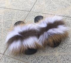 Melody fox fur slides – Feeling Fanci