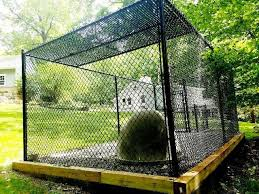 Black Chain Link Kennel Enclosure Dog Houses Chain Link Fence Installation