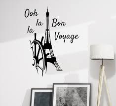 Wall Decal Paris Eiffel Tower Oh La La Bon Voyage Decor Gz375 Wallstickers4you