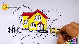 Vẽ ngôi nhà dễ thương/How to draw cute House - YouTube