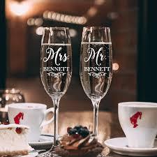 Amazon Com Set Of 2 Vinyl Art Decals Custom Mr Mrs Last Names 3 X 2 5 Each Elegant Personalized Couples Bride Groom Wedding Love Marriage Wine Champagne Glass Sticker Decor Wine Glasses