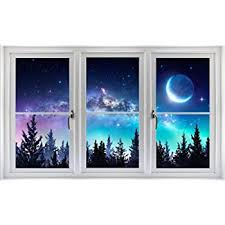 Amazon Com 48 Window Scape Milky Way Aurora 3d Window Wall Decal Sticker Galaxy Mural Self Adhesive Removable Vinyl Night Sky Stars Forest Moon Peel And Stick Home Decor Home Kitchen