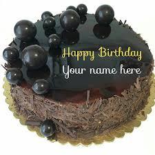 name on dark chocolate birthday cake