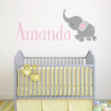 Personalized Name Wall Decal Elephant Wall Art Girls Etsy